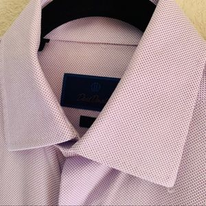 David Donahue trim fit purple textured dress shirt